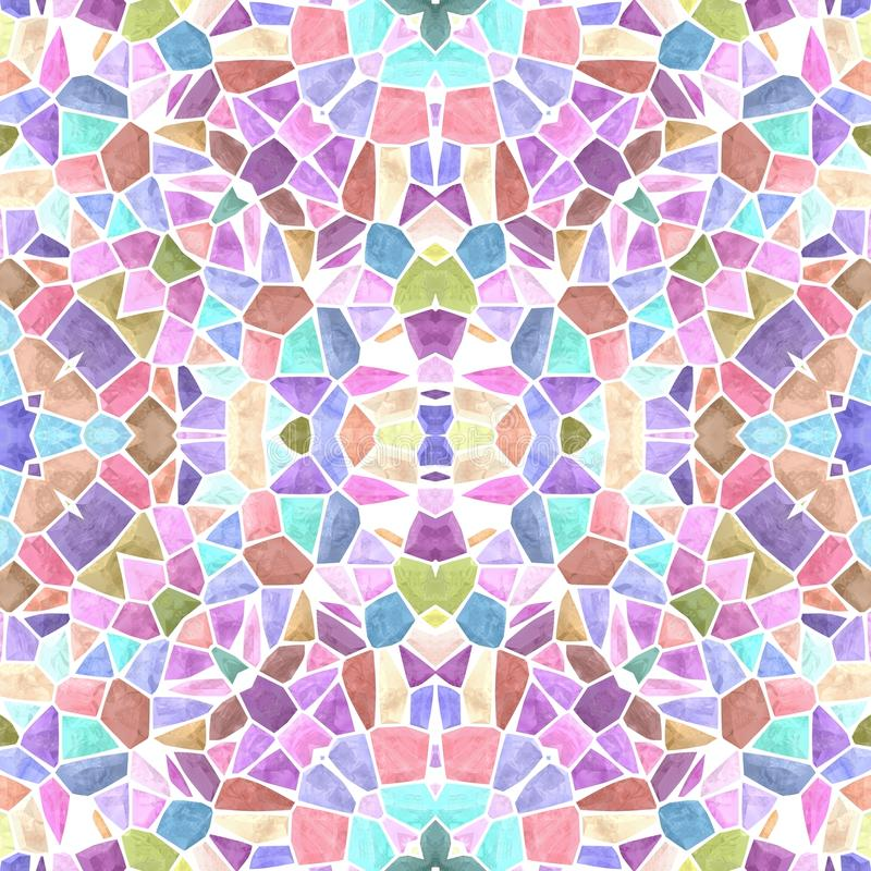 Naadloze de textuurachtergrond van de mozaïekcaleidoscoop - zoete pastelkleur multi gekleurd met witte pleister stock illustratie