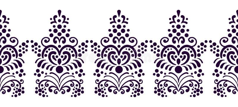 Naadloze decoratieve bloemengrens voor kaders Klassieke, oude stijlillustratie Uitstekend kantornament Getrokken hand vector illustratie