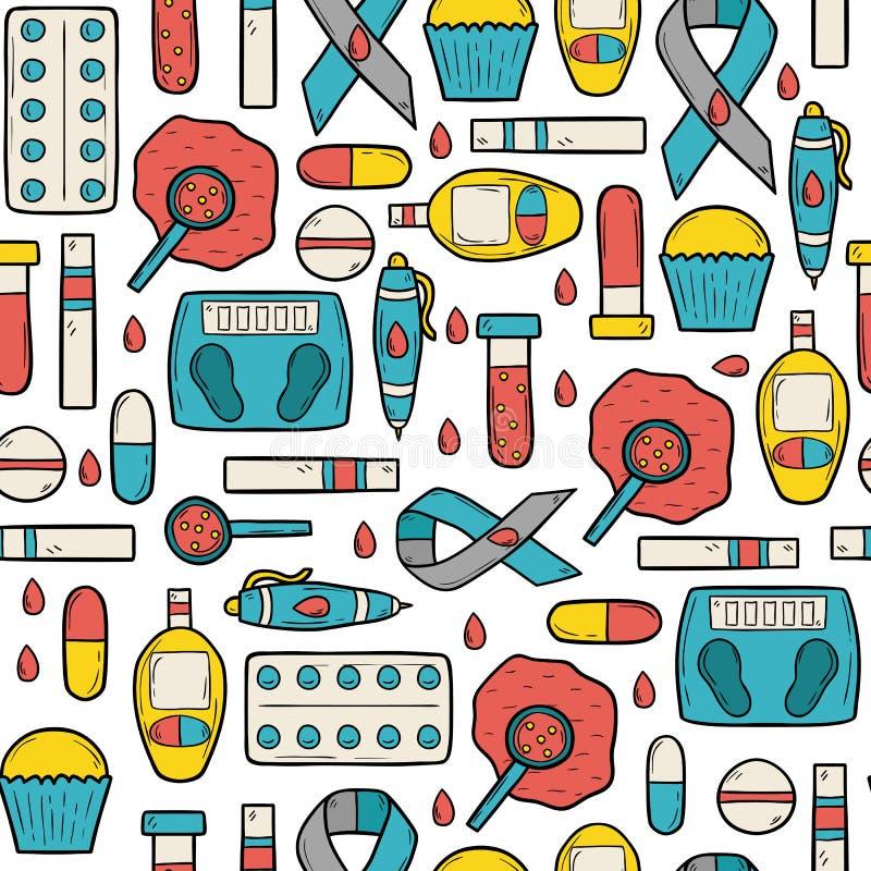 Naadloze diabetesachtergrond stock illustratie