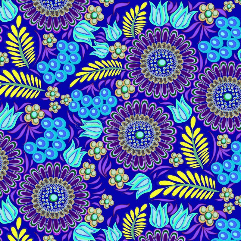 naadloze die achtergrond met bloemen wordt geschilderd en berrie royalty-vrije illustratie