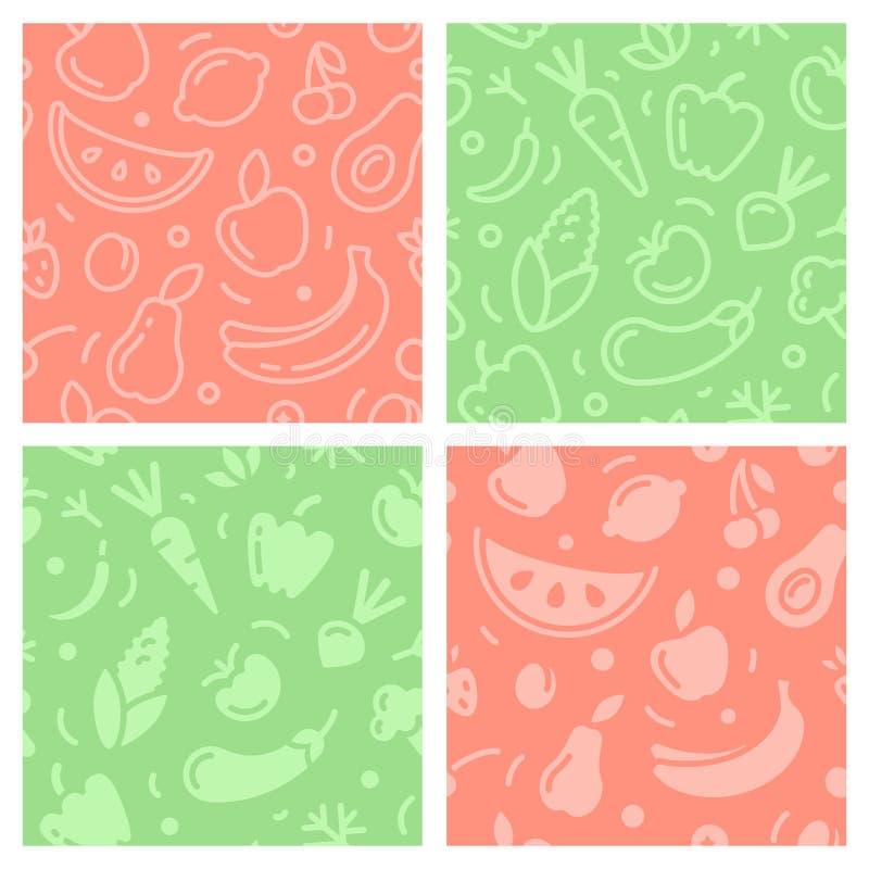Naadloze die patronen met vruchten en groenten worden geplaatst royalty-vrije illustratie