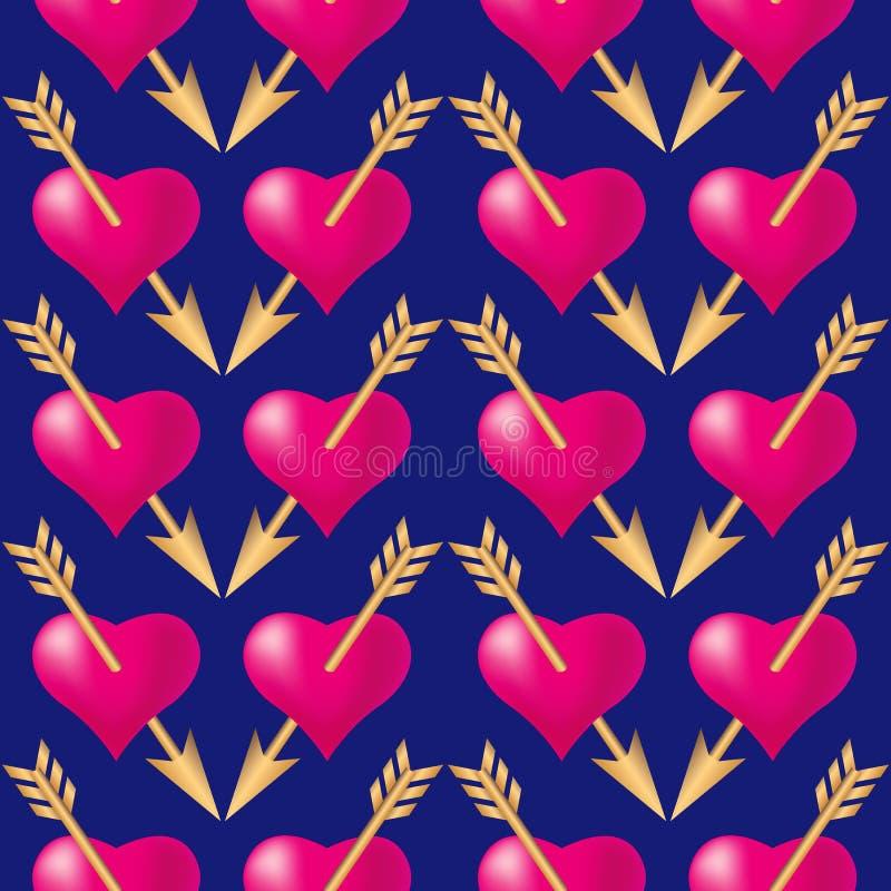 Naadloze die patroonachtergrond met harten door gouden pijlen worden doordrongen De vakantietypografie van de valentijnskaartenda stock illustratie