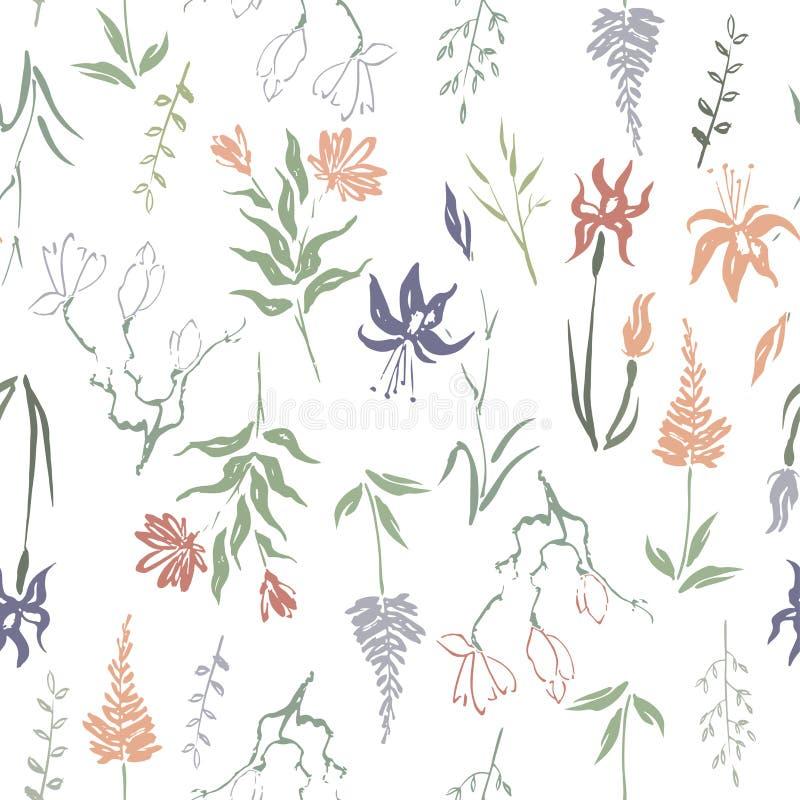 Naadloze die patterm op bladeren, de bloemen en de kruiden van de kleuren de hand geschilderde inkt met magnolia en iris wordt ge stock illustratie