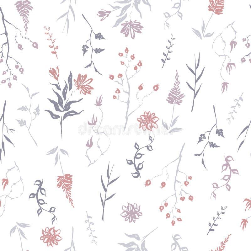 Naadloze die patterm op kleurenhand wordt gebaseerd schilderde inktbladeren, namen de bloemen en de kruiden met hond en chrysant  royalty-vrije illustratie