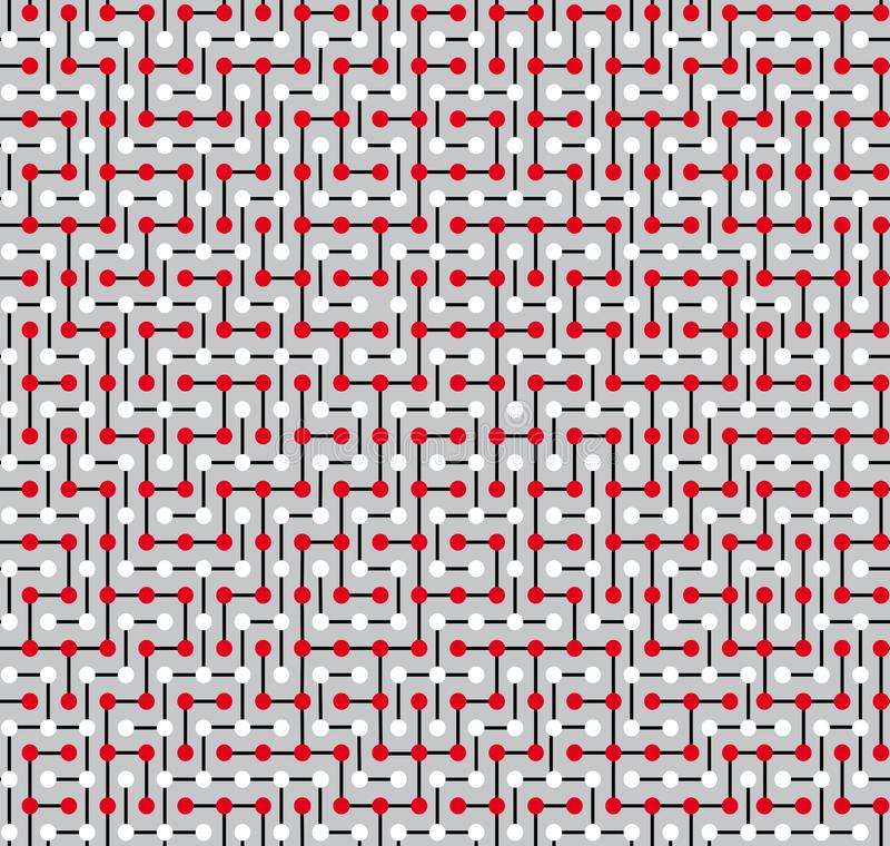 Naadloze die textuur, in de vorm van een complex labyrint wordt gemaakt die uit witte en rode cirkels en witte segmenten bestaan royalty-vrije illustratie