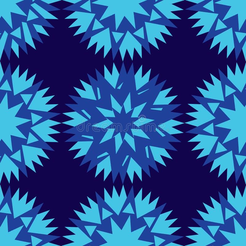 Naadloze donkerblauwe achtergrond en het kleurrijke abstracte geometrische blauw van de vormenkorenbloem royalty-vrije illustratie