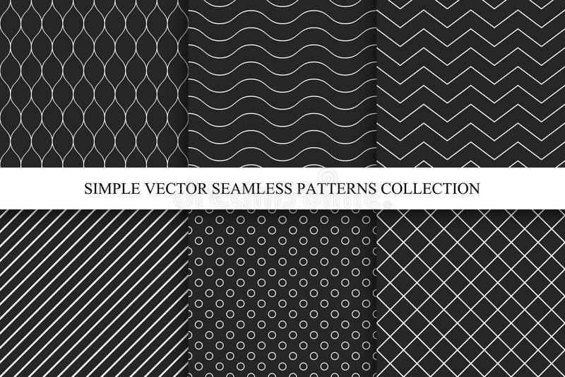Naadloze donkere geometrische minimalistic patronen stock illustratie