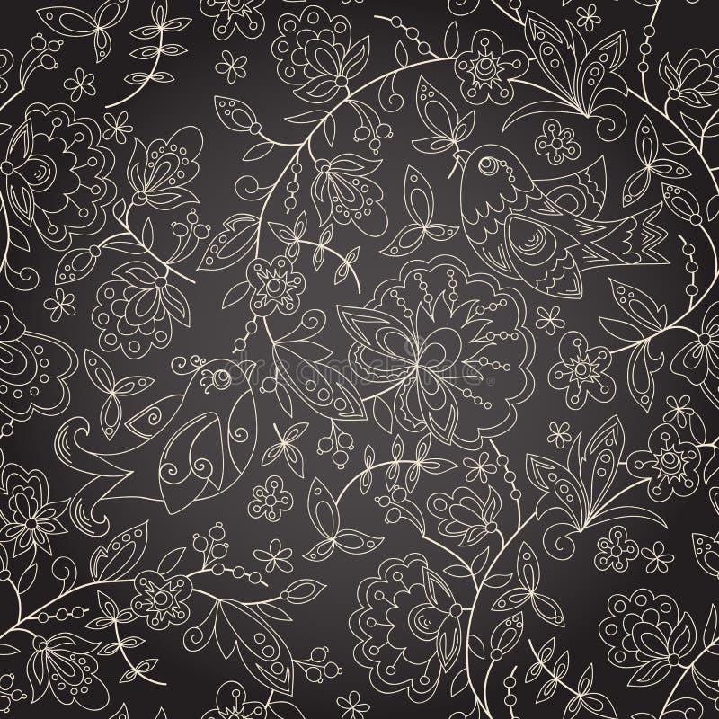 Naadloze donkere textuur met bloem vector illustratie