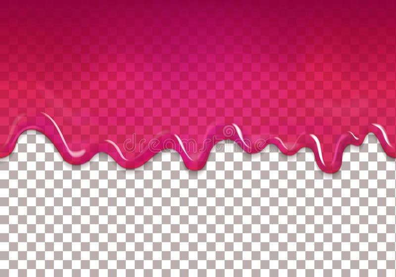 Naadloze druipende zoete Amerikaanse veenbesjam Vector purpere stroop transparante achtergrond royalty-vrije illustratie
