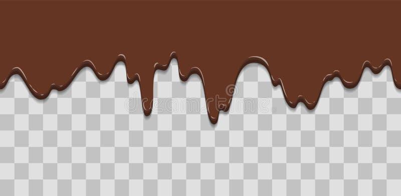 Naadloze druppel Druipende glans, room, roomijs, witte chocolade, vanille Dalingen die neer stromen Beeldverhaalillustratie voor stock illustratie