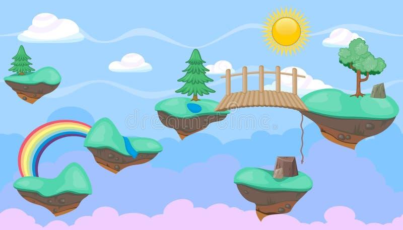 Naadloze editable hemelcloudscape met eilanden en bomen voor het ontwerp van het platformerspel royalty-vrije illustratie