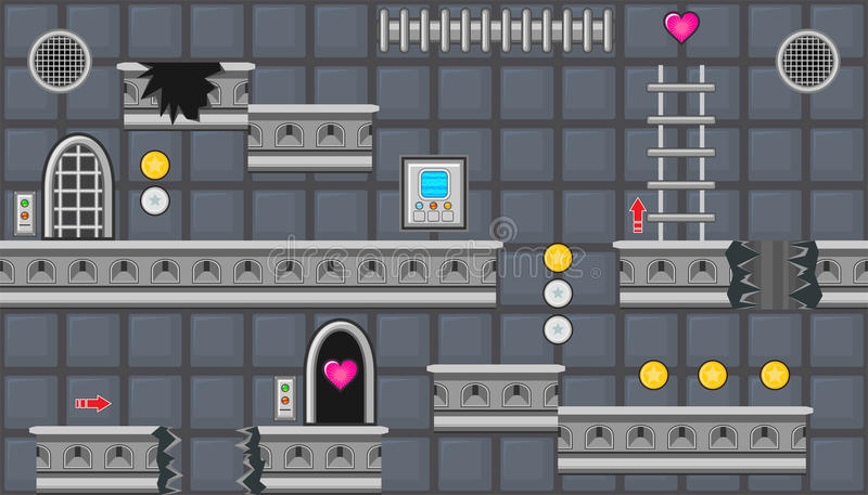 Naadloze editable ruimte met rond gemaakte deuren en treden voor het ontwerp van het platformspel royalty-vrije illustratie
