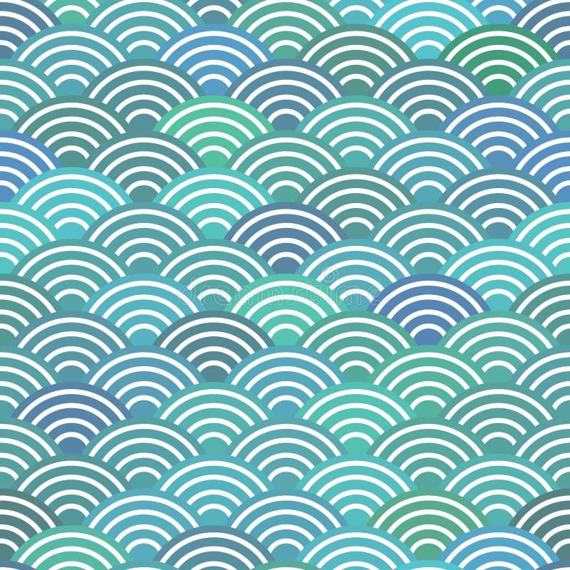 Naadloze eenvoudige de Aard abstracte textuur van patroonschalen met Japanse van het patroonpastelkleuren van de golfcirkel de go stock illustratie