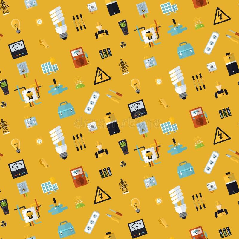 Naadloze elektrovoorwerpen stock illustratie