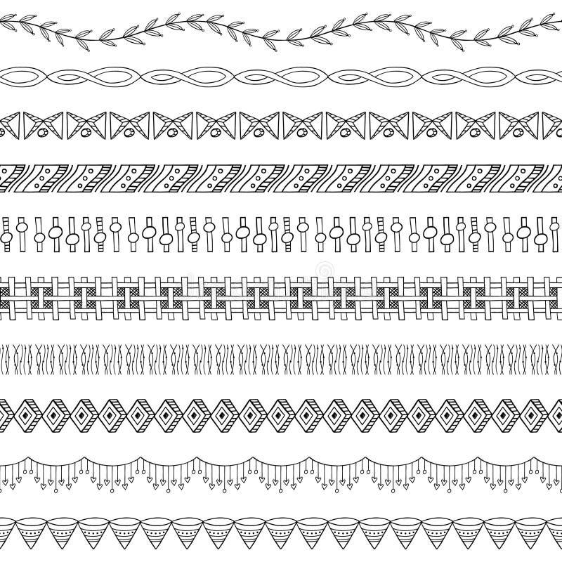 Naadloze Elementen twee van de Grens en van het Frame van de Krabbel royalty-vrije illustratie
