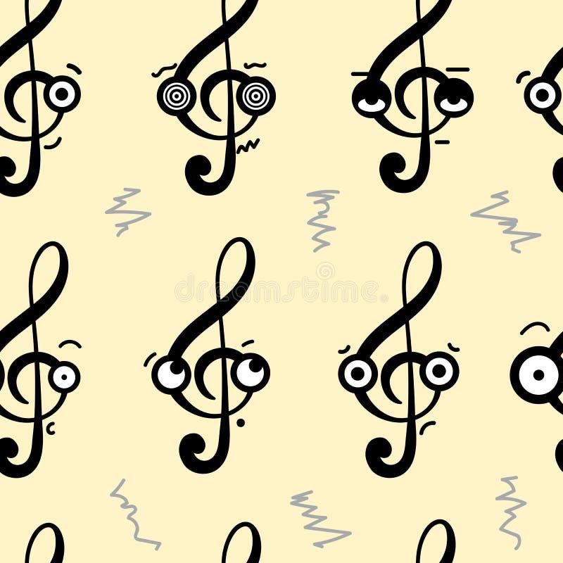 Naadloze emotionele g-sleutels vector illustratie