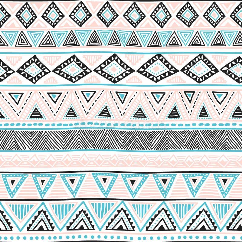 Naadloze etnische achtergrond Geometrisch helder patroon Blauw, blac royalty-vrije illustratie