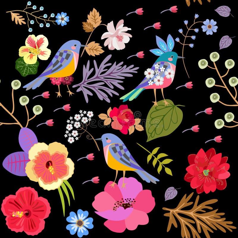 Naadloze exotische patroon witn grappige vogels en heldere bloemen die op zwarte achtergrond in vector worden geïsoleerd Druk voo royalty-vrije illustratie