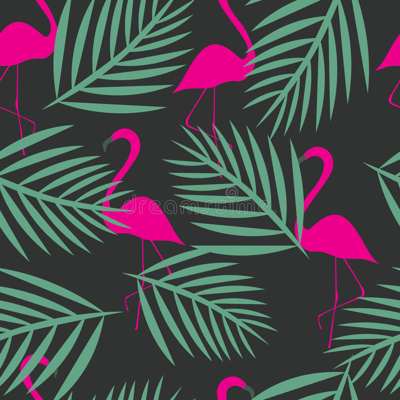 Naadloze flamingo vectorpatronen royalty-vrije illustratie