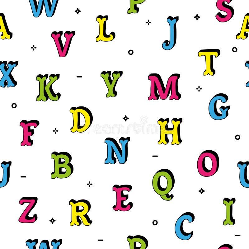 Naadloze geïsoleerd het patroon kleurrijk van krabbelhand getrokken brieven royalty-vrije illustratie