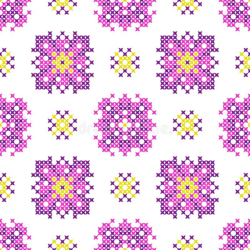 Naadloze geborduurde textuur van abstracte patronen stock afbeelding