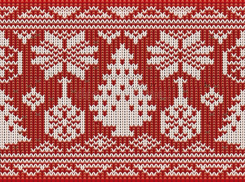 Naadloze gebreide achtergrond van geluk de Vrolijke Kerstmis stock illustratie