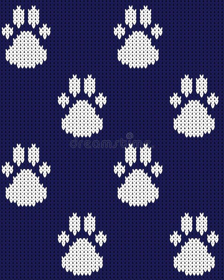 Naadloze gebreide naadloze het patroon blauwe witte vectorillustratie van de hondpoot vector illustratie