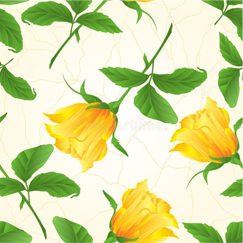 Naadloze geel textuurrosebud nam takje met bladeren op een witte uitstekende vector editable illustratie als achtergrond toe stock illustratie