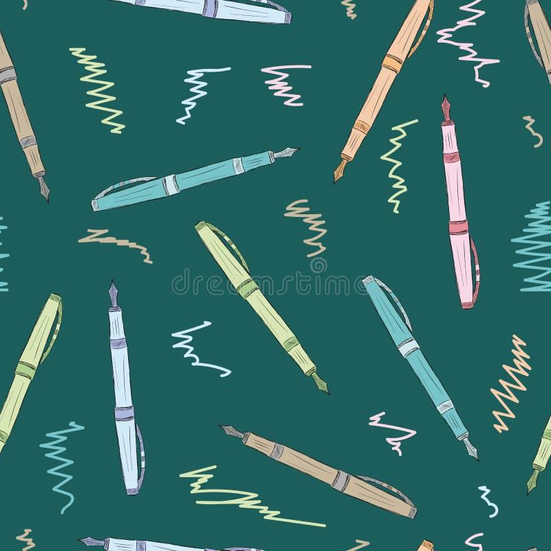 Naadloze gekleurde pennen stock illustratie