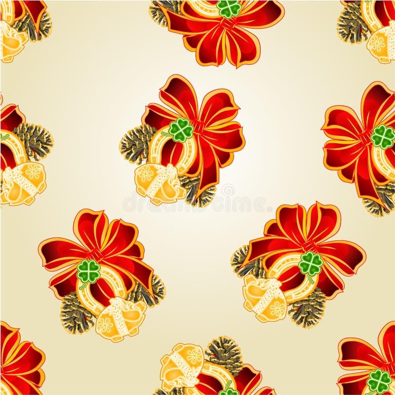 Naadloze gelukkige de symbolenvector van textuur Vrolijke Kerstmis royalty-vrije illustratie