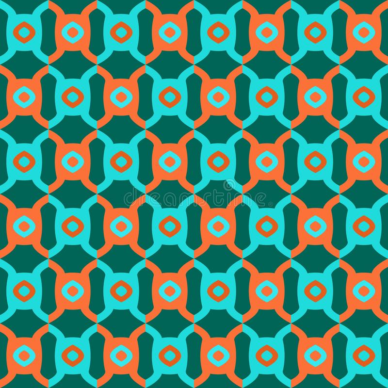 Naadloze geometrische abstracte patroon vector achtergrond kleurrijke ontwerp uitstekende retro kunst met cirkels en gebogen vier vector illustratie