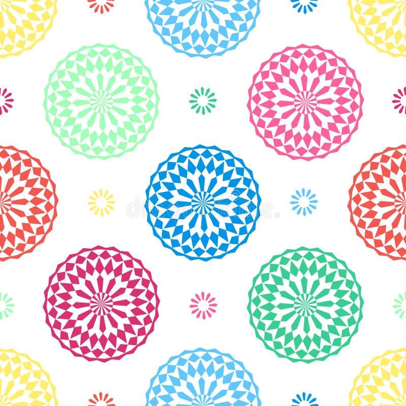 Naadloze geometrische bloemenpatroon vector achtergrondontwerp abstracte kunst met oosterse Arabische bloem die kleurrijke vormen stock illustratie