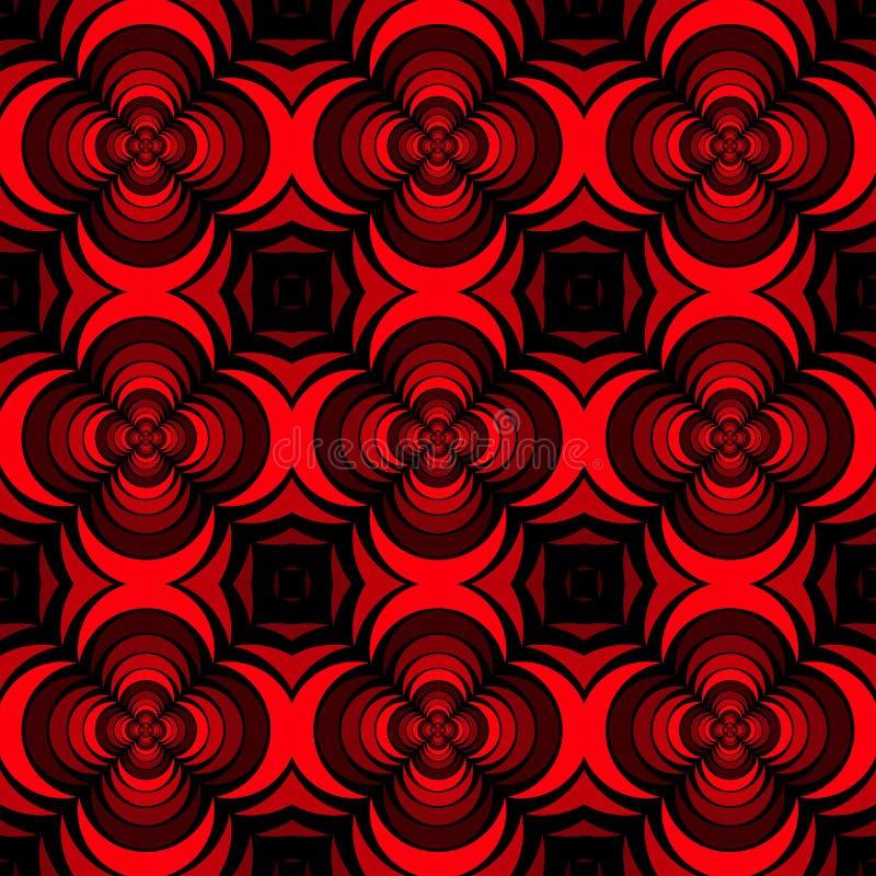 Naadloze geometrische bloemenpatroon vector achtergrondontwerpkunst met roze bloem die 3D als vormen rode zwarte kijken royalty-vrije illustratie