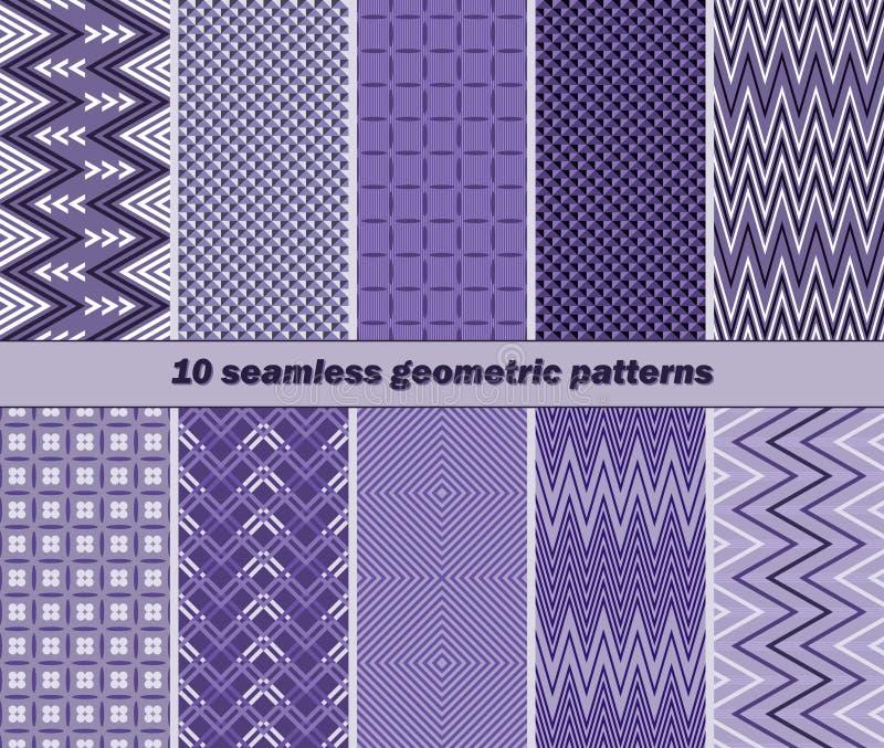 10 naadloze geometrische patronen in violette kleur stock illustratie