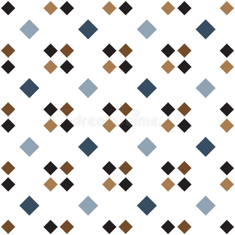 Naadloze geometrische patroon vector achtergrond kleurrijke ontwerp uitstekende retro kunst met vierkanten blauwe witte bruine zw stock illustratie