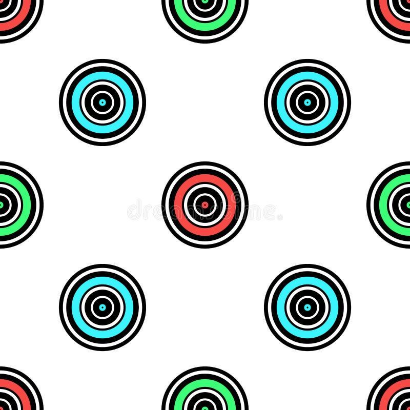 Naadloze geometrische patroon vectorachtergrond met van de kunstaqua van het cirkels kleurrijke ontwerp abstracte uitstekende ret stock illustratie