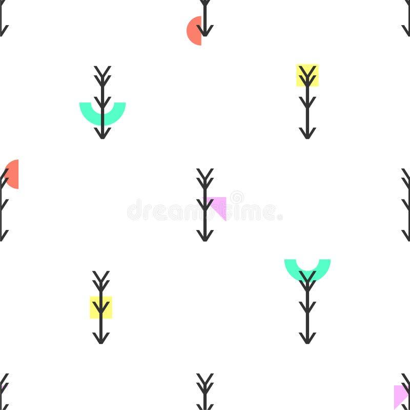 Naadloze geometrische pijlen en vormenpatroon vector achtergrond inheemse Amerikaanse etnische Indische ontwerp abstracte uitstek royalty-vrije illustratie