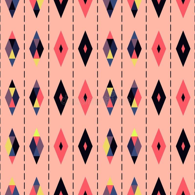 Naadloze geometrische uitstekende retro abstracte de kunstachtergrond van het patroon vectorontwerp met kleurrijke diamantvormen  royalty-vrije illustratie