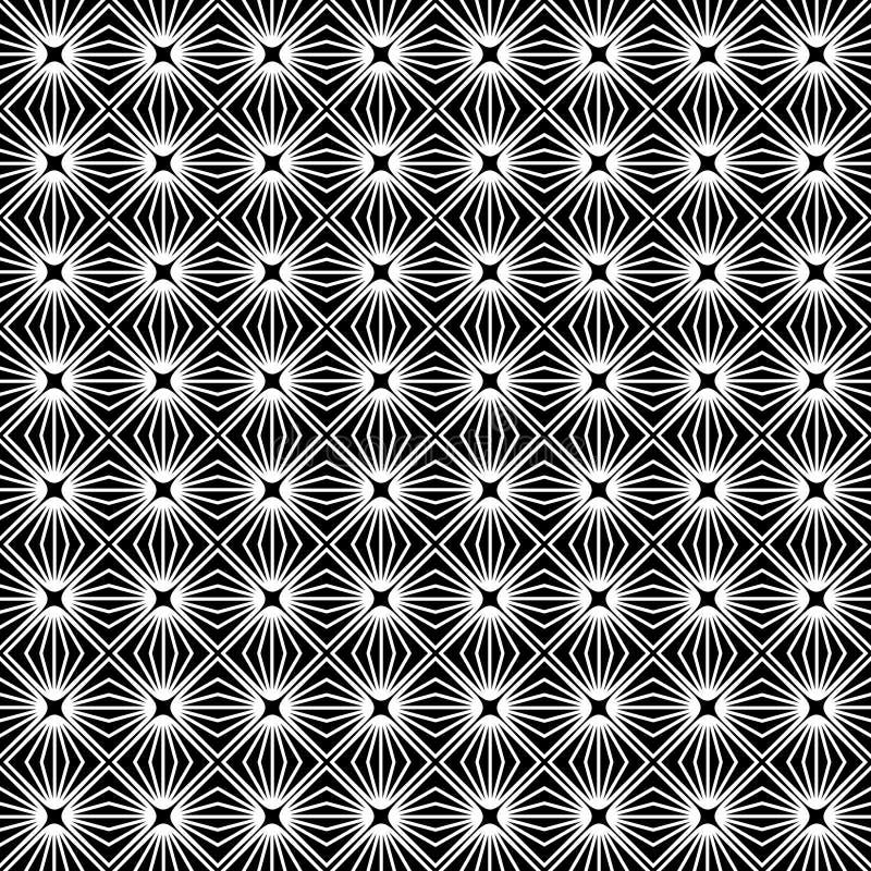 Naadloze geometrische vectorachtergrond, de eenvoudige zwart-witte streptokok van de diamantvorm stock illustratie