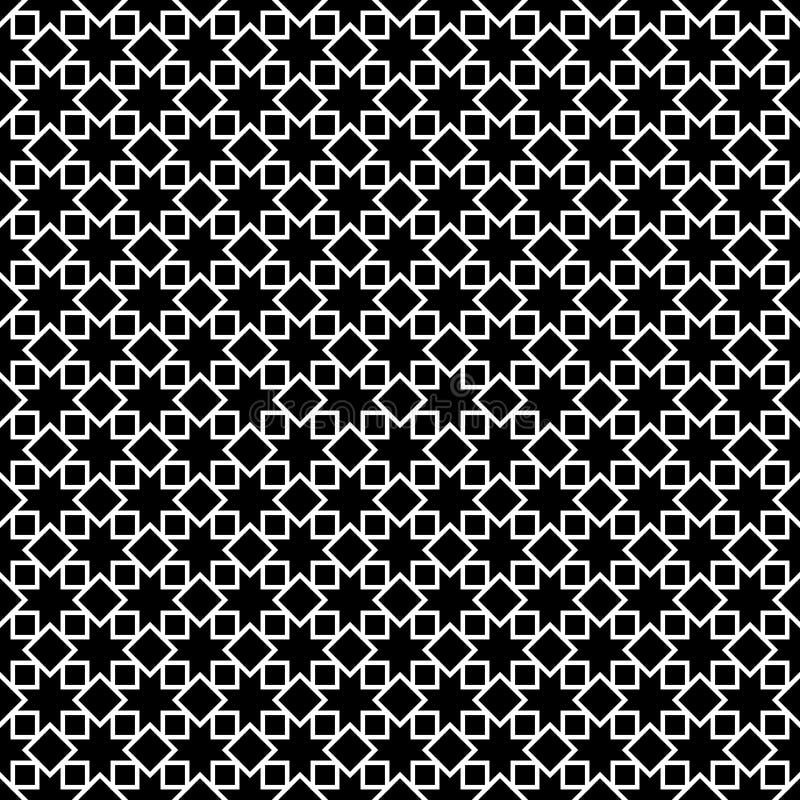 Naadloze geometrische vectorachtergrond, eenvoudige zwart-witte streptokok stock illustratie