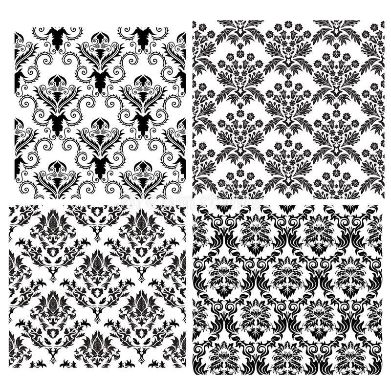 Naadloze geplaatste damastachtergronden royalty-vrije stock afbeeldingen