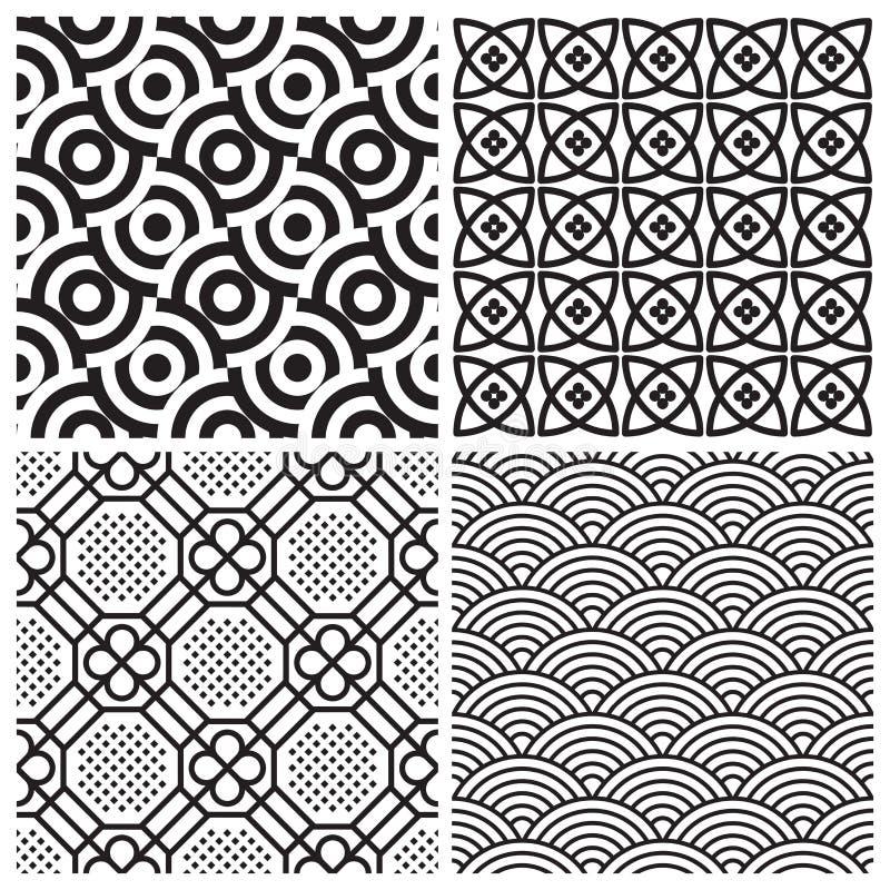 Naadloze geplaatste patronen (vector) stock illustratie