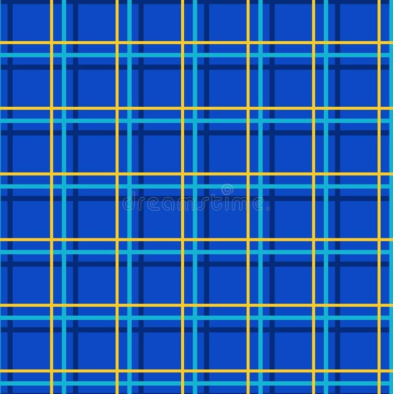 Naadloze geruite achtergrond, dunne lijnen, blauw, vector stock illustratie