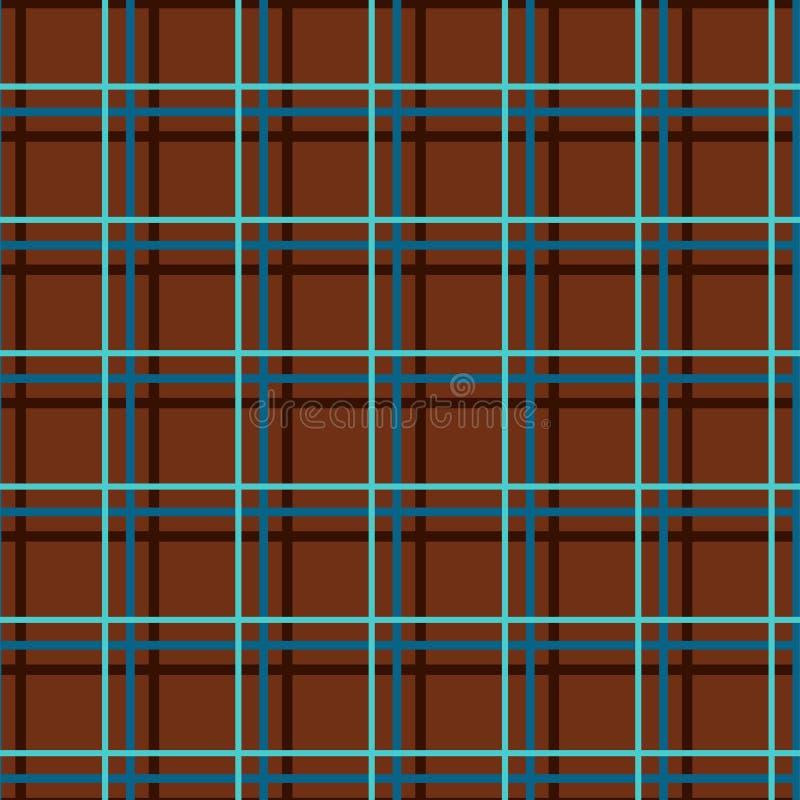 Naadloze geruite achtergrond, fijne bruine lijnen, vector stock illustratie