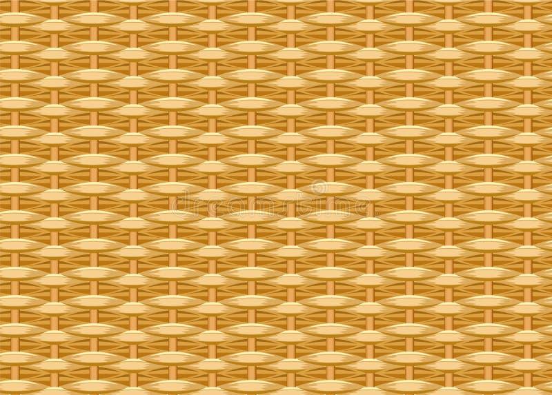 Naadloze gevlechte achtergrond Rieten stro Geweven wilgentakjes Rieten textuur royalty-vrije illustratie