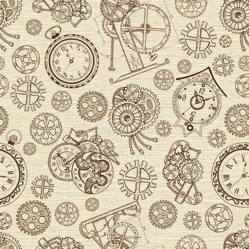 Naadloze geweven achtergrond met klokken en mechanische gedeelten royalty-vrije illustratie