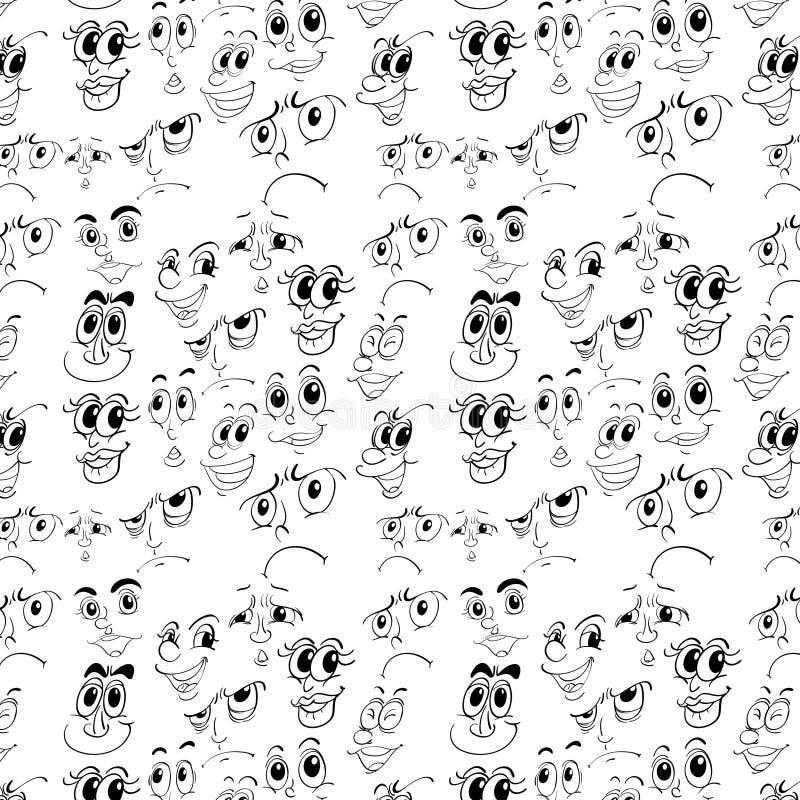 Naadloze gezichten vector illustratie