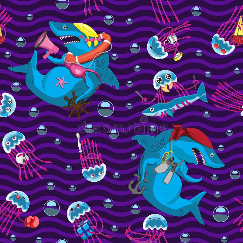 Naadloze golvende achtergrond van van de karakters onderwaterbellen van de kwallenhaai de emotiesvoorwerpen Het document van de b vector illustratie