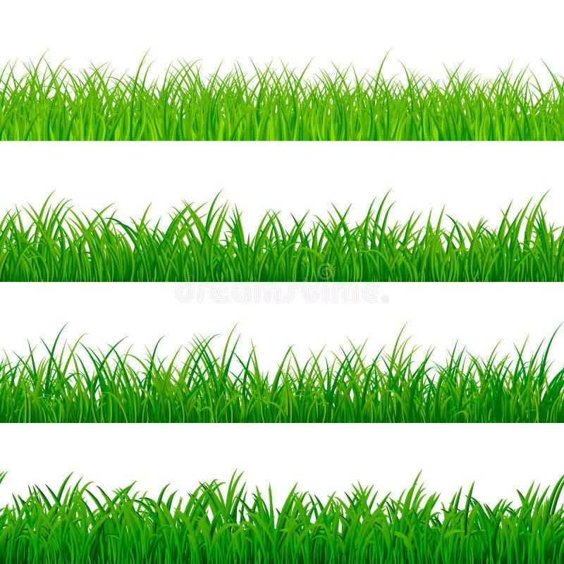 Naadloze gorisontal grasgrens Groen kruidenpanoramapatroon De elementen van de grastextuur Vector illustratie vector illustratie