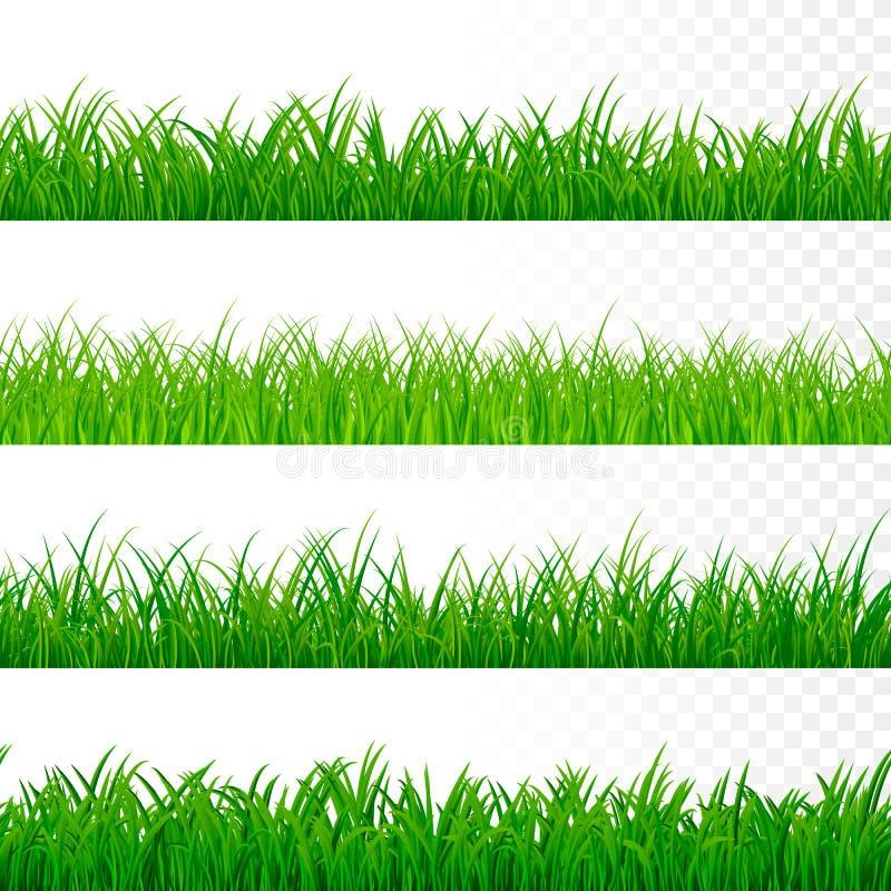 Naadloze gorisontal grasgrens Het groene Patroon van het Gras De elementen van de grastextuur Vector royalty-vrije illustratie